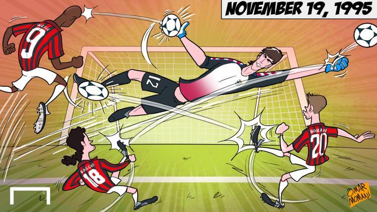 """Bức biếm họa trận ra mắt của Buffon được gọi là """"Ngày ra đời của một huyền thoại""""."""
