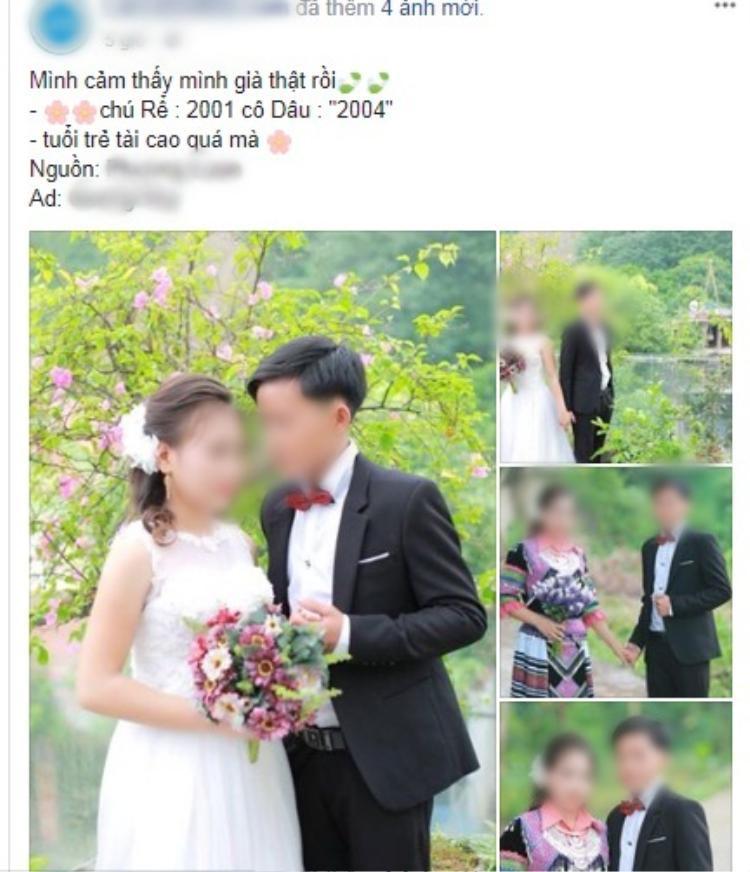 Hình ảnh cặp đôi chú rể sinh năm 2001, cô dâu 2004 gây xôn xao.