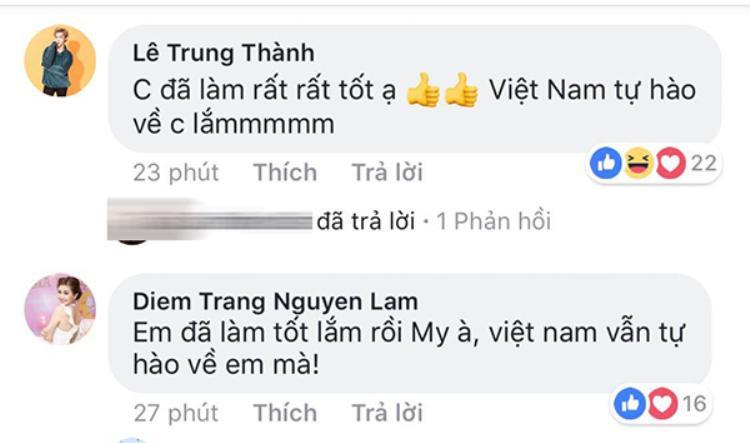 Nam ca sĩ Erik, á hậu Diễm Trang cũng động viên Huyền My.
