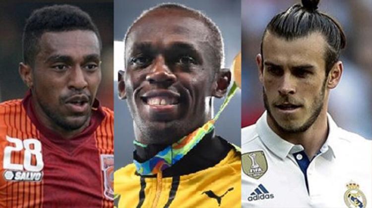 Terens Puhiri (trái) có thể đứng ngang hàng với các siêu sao tốc độ như Usain Bolt và Gareth Bale (phải)