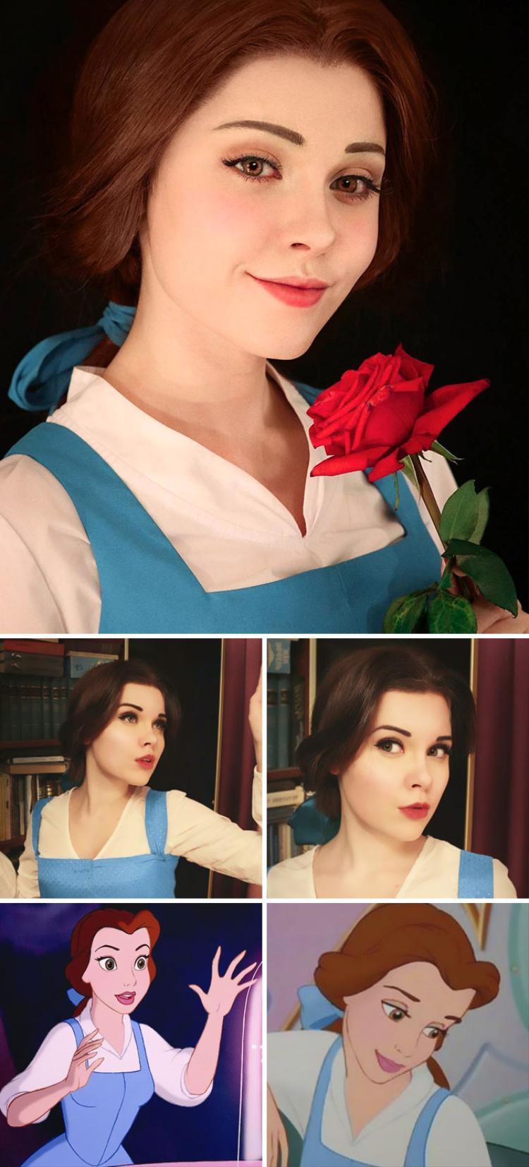 Không chỉ đầu tư trang điểm, làm tóc hay trang phục, cô gái Nga còn có biểu cảm và phong thái giống hệt nhân vật mà cô cosplay. Trong ảnh là nàng Belle trong phim Người đẹp và Quái vật (phiên bản hoạt hình).