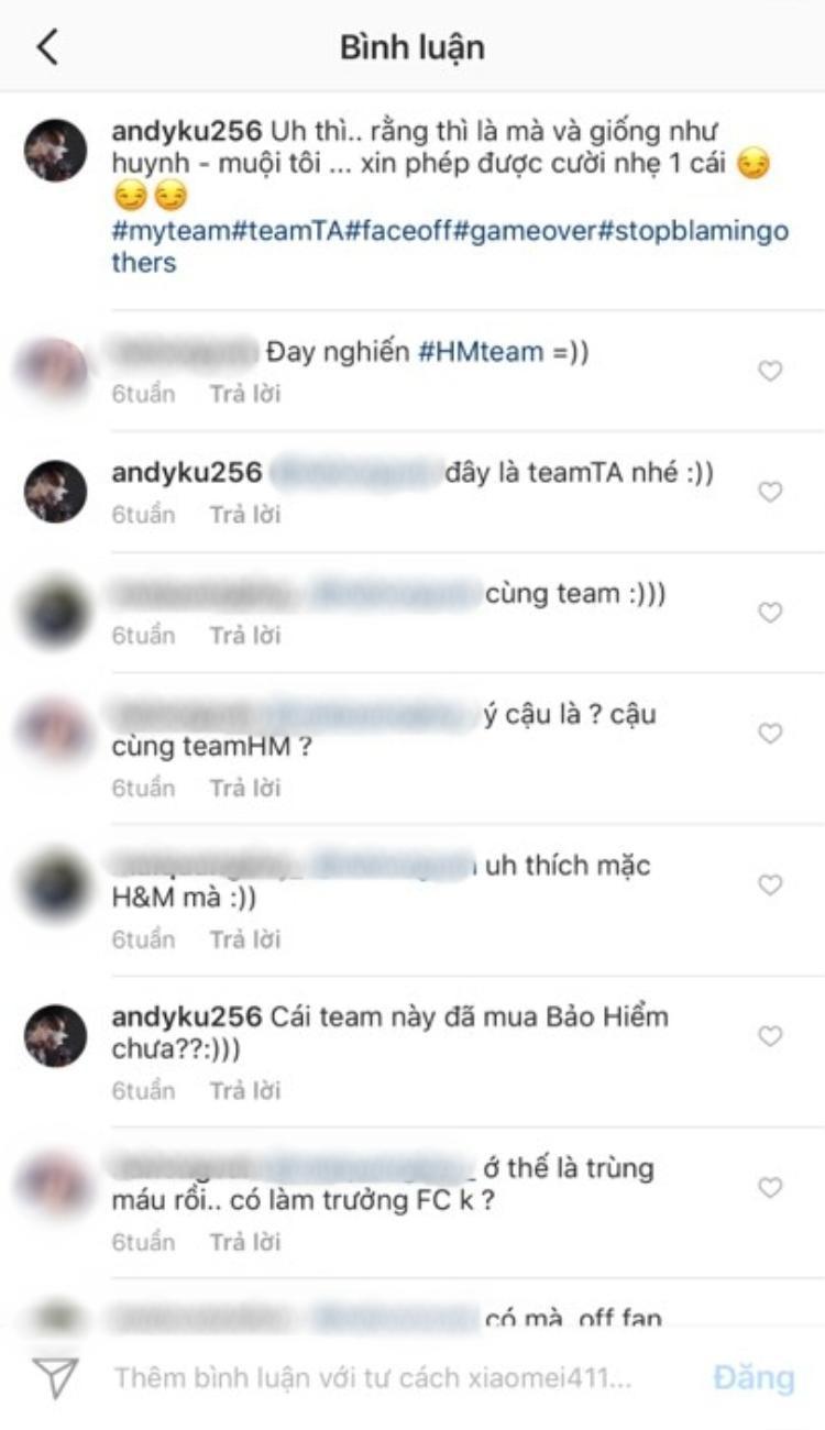 """Thế Anh viết chú thích khá ẩn ý trong bức ảnh chụp cùng Tú Anh. Theo đó, anh hashtag """"teamTA"""", bạn bè anh để lại bình luận """"team HM"""" khiến nhiều fan liên tưởng đến """"team Tú Anh"""" và team """"Huyền My""""."""