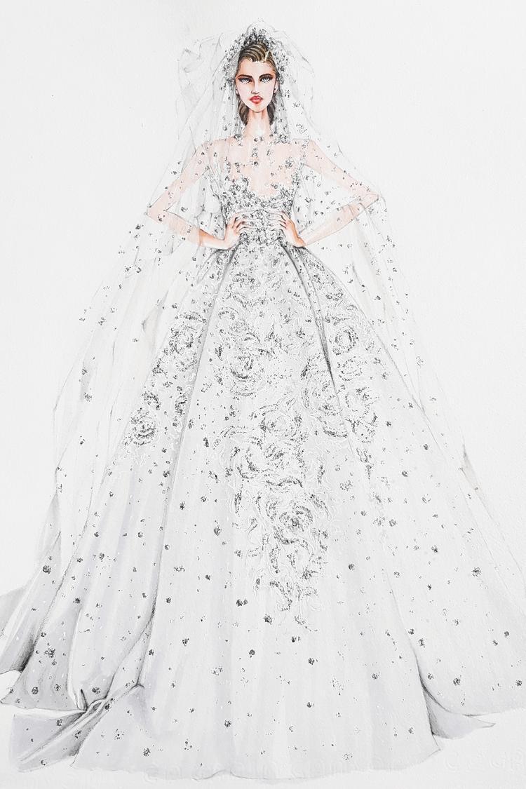 """Mẫu váy đình đám của nhà mốt Elie Sabb qua nét vẽ minh họa của nhà diễn họa Lâm Á Luân. Đây cũng là mẫu váy gây """"sốt"""" giới mộ điệu, nhanh chóng trở thành giấc mơ của mọi cô gái. Vậy còn gì hợp hơn? một """"chiếc váy thế kỉ"""" cho một """"đám cưới thế kỉ""""."""