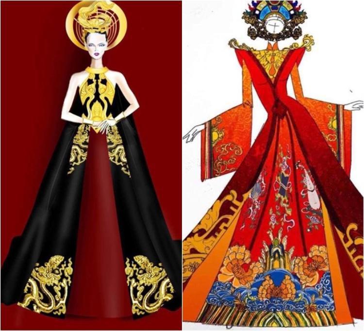 Sản phẩm của Trí (trái) và hình ảnh vẽ tay được gia đình Huyền My đặt hàng NTK Ngô Nhật Huy.