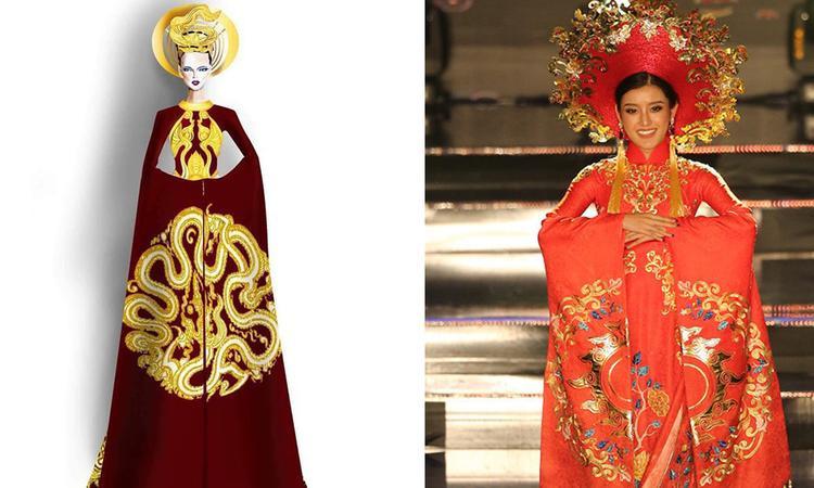 Không khó nhận ra những điểm giống nhau giữa thiết kế của Đỗ Vân Trí và bộ trang phục dân tộc của Huyền My.
