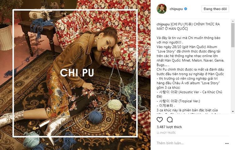 Chia sẻ về màn ra mắt tại Hàn Quốc trên trang cá nhân của Chi Pu.