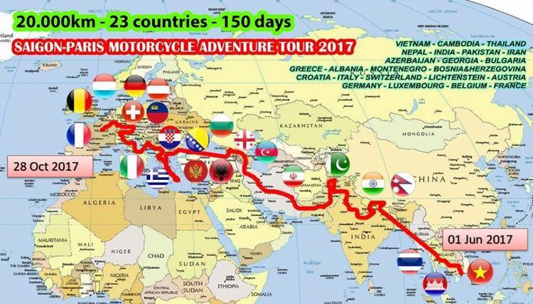 """Chỉ bằng """"người bạn đồng hành"""" là chiếc Honda Wave đời 2008 khá cũ, anh đã """"phượt"""" qua 23 quốc gia lớn nhỏ từViệt Nam - Campuchia - Thái Lan - Nepal - Ấn Độ - Pakistan - Iran - Azerbaijan - Georgia - Bulgaria - Hy Lạp - Albania - Montenegro - Bosnia&Herzegovina - Croatia - Ý - Thụy Sỹ - Lichtenstein - Áo - Đức - Luxembourg - Bỉ và tạm dừng chân tại Pháp. Ảnh: Sơ đồ mô phỏng lại hành trình này của Đăng Khoa"""