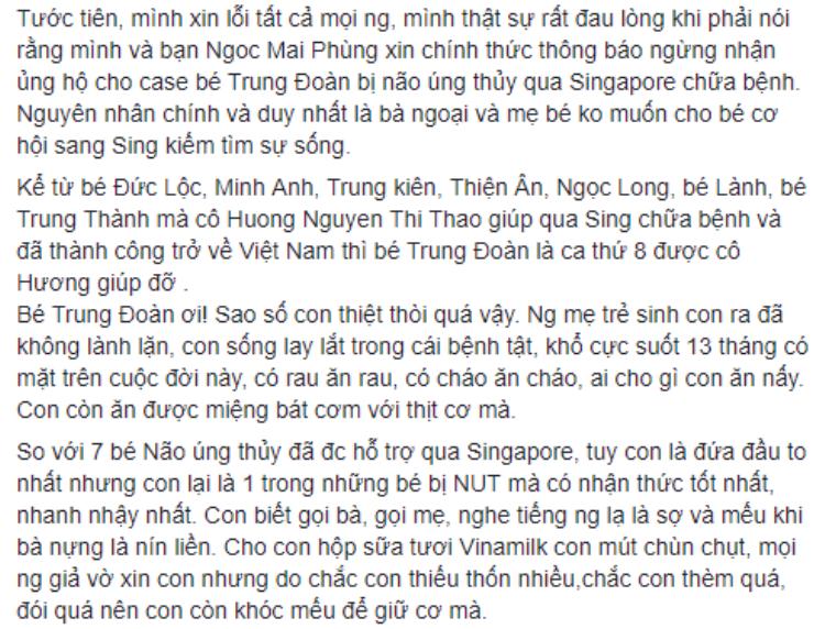 Đoạn chia sẻ về trường hợp của bé bé trai Bùi Trung Đoàn (12 tháng tuổi).