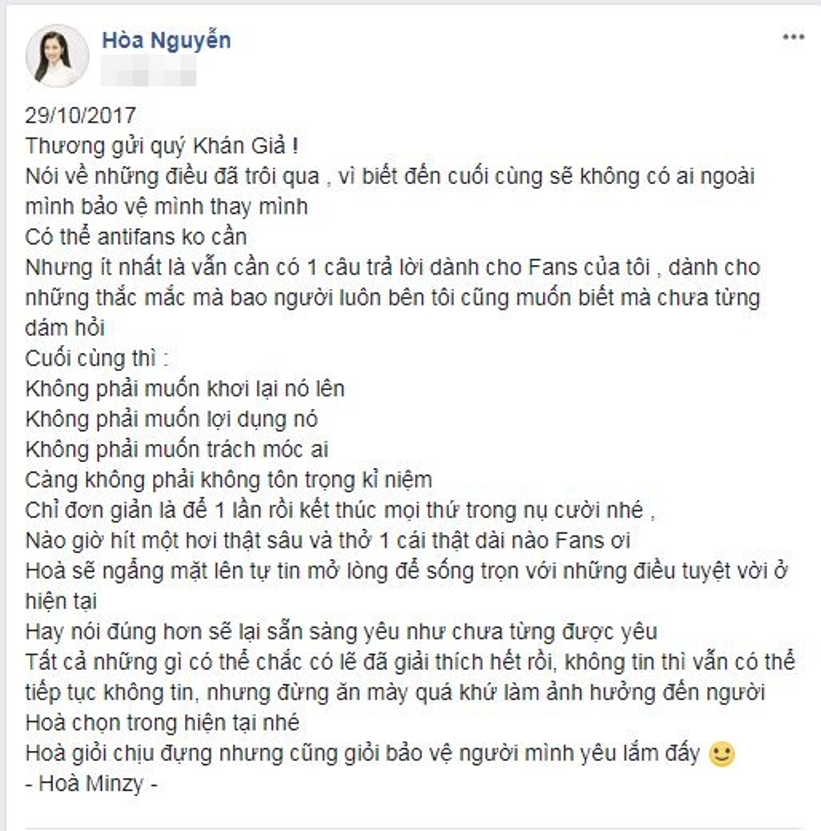 Status chia sẻ của Hòa Minzy sau khi trải lòng về những chuyện trong quá khứ.
