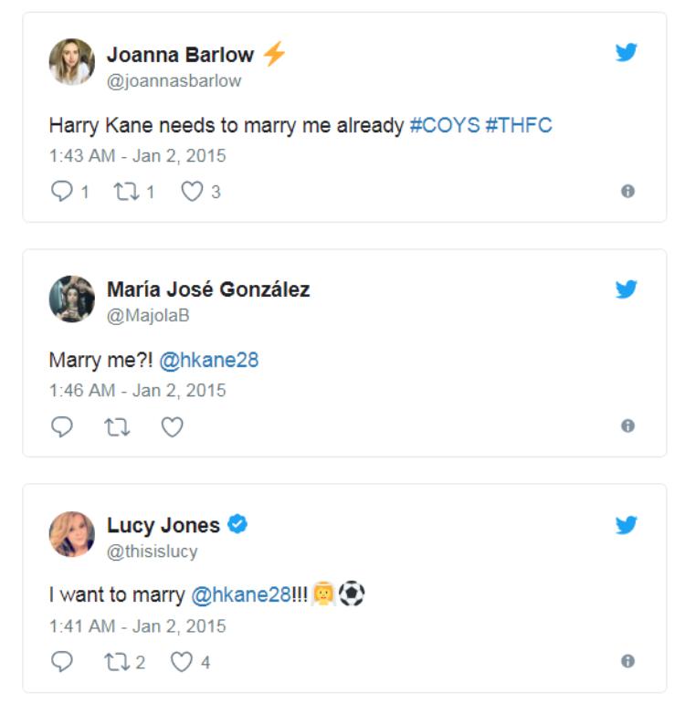 Harry Kane đã nhận được vô số lời tỏ tình sau khi ghi 2 bàn vào lưới Chelsea.