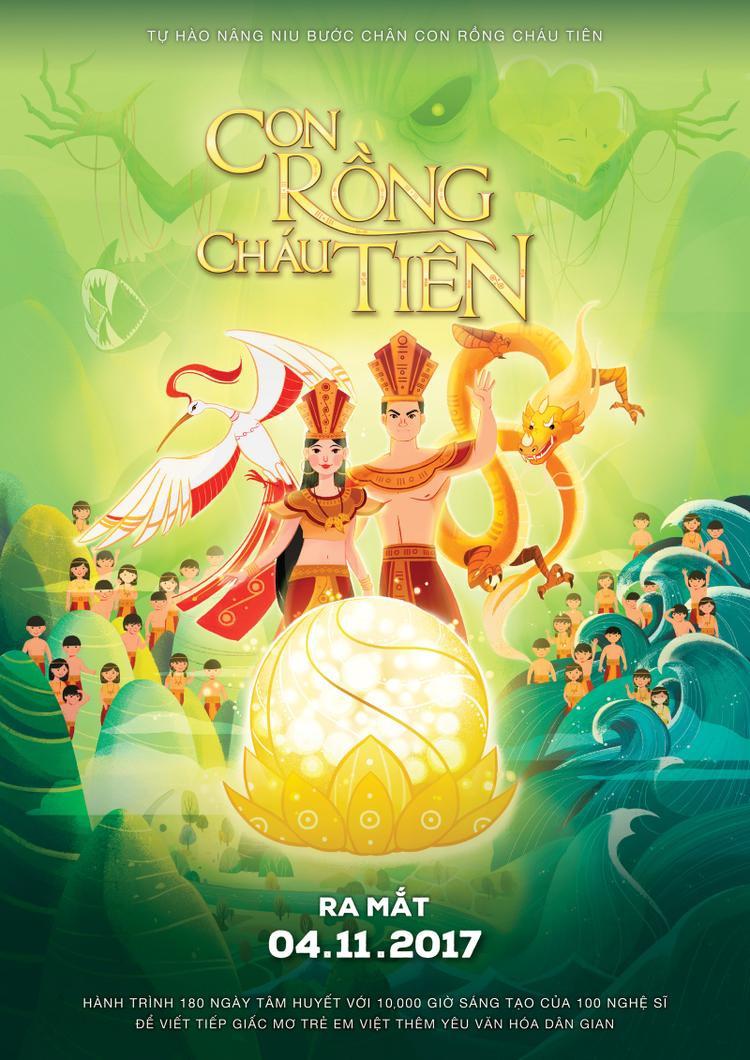"""Poster chính thức của bộ phim hoạt hình """"Con Rồng Cháu Tiên""""."""