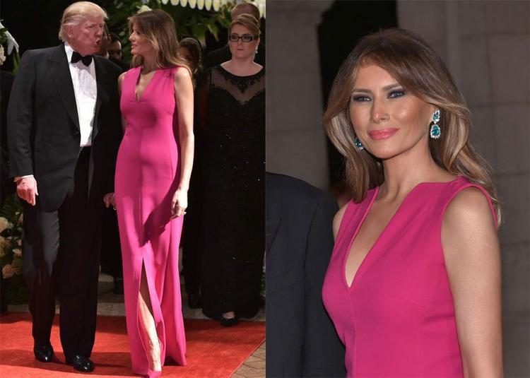 Bà Melania chọn chiếc váy cổ chữ V, xẻ tà của thương hiệu cao cấp Dior khi đi dự tiệc của Hội Chữ thập đỏ tại biệt thự Mar-A-Lago ở Palm Beach, Florida.