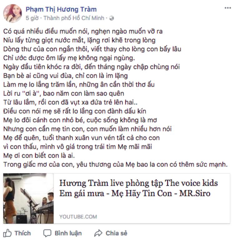 Hương Tràm chia sẻ lời bài hát mới trên Facebook cá nhân