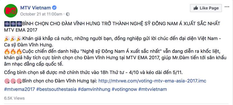 Nghi vấn BTC MTV Việt Nam sơ suất trong khâu bình chọn khiến Mr. Đàm trượt giải tại EMAs