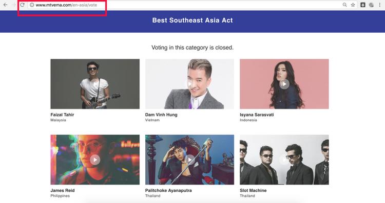 Đây mới là link vote chính thức, còn khi truy cập link của MTV Vietnam đưa ra, khán giả sẽ phải qua thêm vài bước để đến được link chính thức này.