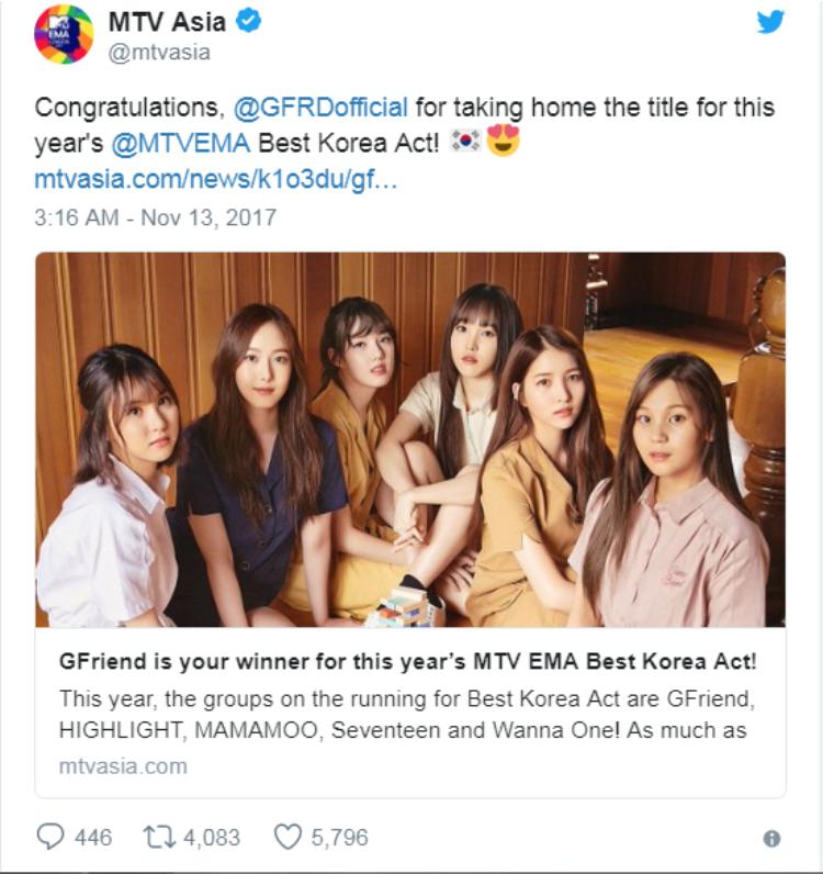 Trang chủ MTV châu Á đăng tải lời chúc mừng tới các thành viên G-Friend.