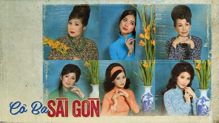 """Poster của """"Cô Ba Sài Gòn"""" quy tụ dàn diễn viên chính trong tà áo dài truyền thống."""