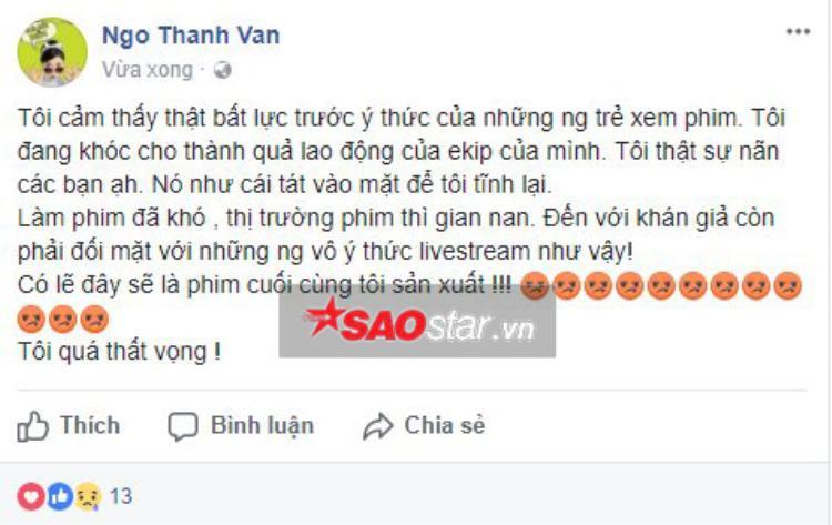 Nhà sản xuất Ngô Thanh Vân thể hiện sự đau xót và phẫn nộ.