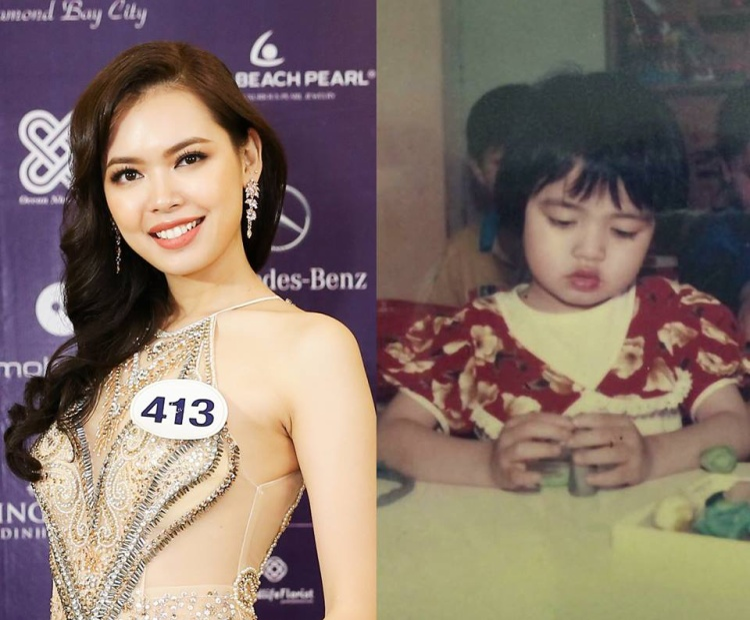 Đôi môi chúm chím, gương mặt tròn đáng yêu của Bùi Thanh Hằngthuở bé làm nhiều người chỉ muốn cưng nựng. Cô là thí sinh nổi bật ở cuộc thi năm nay nhờ sở hữu đầy đủ các yếu tố để trở thành đương kim Hoa hậu.