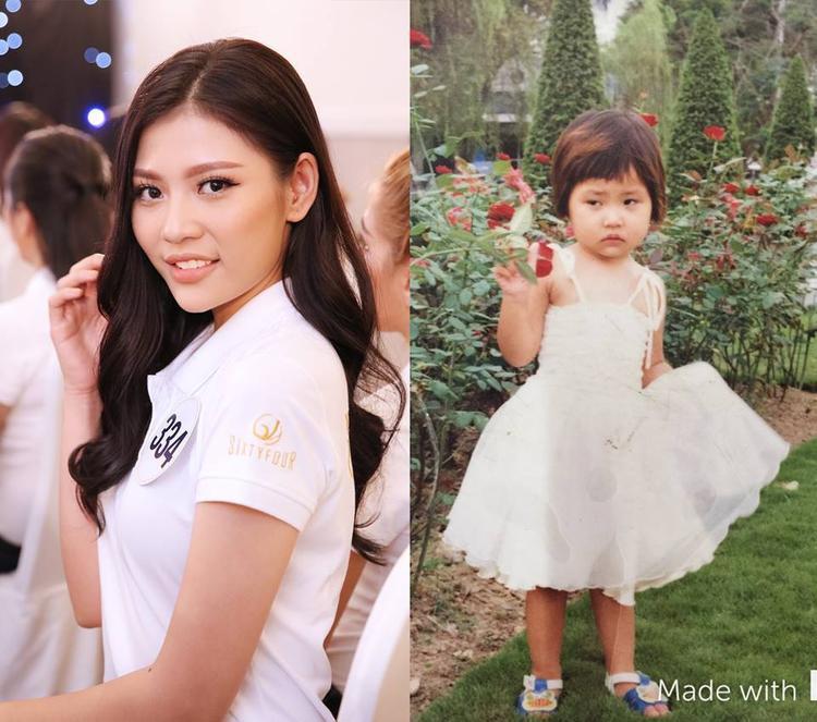 """Gương mặt bụ bẫm, đáng yêu của Chúng Huyền Thanh khiến khán giả không thể không yêu. Từ khi còn bé, cô nàng đã khá điệu đà, chăm chút cho ngoại hình của mình. Người đẹp sinh năm 1997 mặc váy trắng, tóc nhuộm vàng đứng tạo dáng bên vườn hoa. Khi đến với Miss Universe Vietnam 2017, chân dài gốc Hải Phòng trải qua quãng thời gian giảm cân """"khốc liệt"""" để có được vóc dáng chuẩn như hiện tại. Bên cạnh đó, gương mặt xinh đẹp, ăn ảnh của Chúng Huyền Thanh cũng nhận được sự yêu thích của công chúng."""