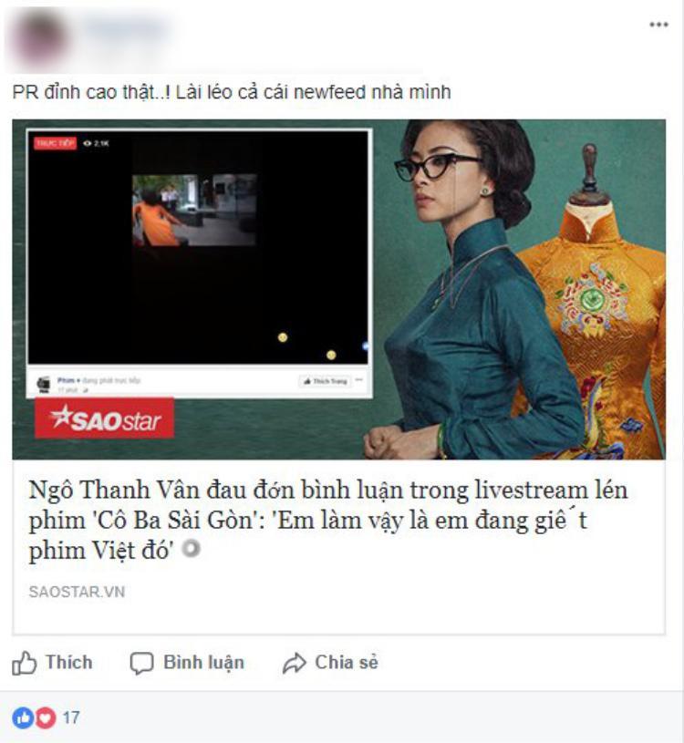 Ý kiến cho rằng Cô Ba Sài Gòn đang PR cho phim.