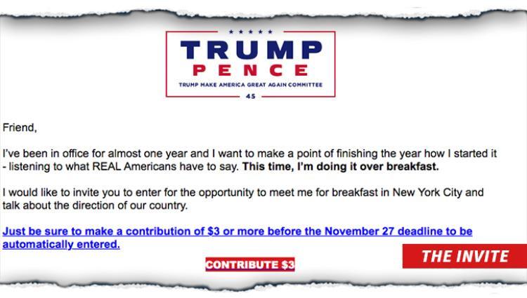 Muốn ăn sáng với Tổng thống Trump, bạn chỉ cần bỏ ra 3 USD
