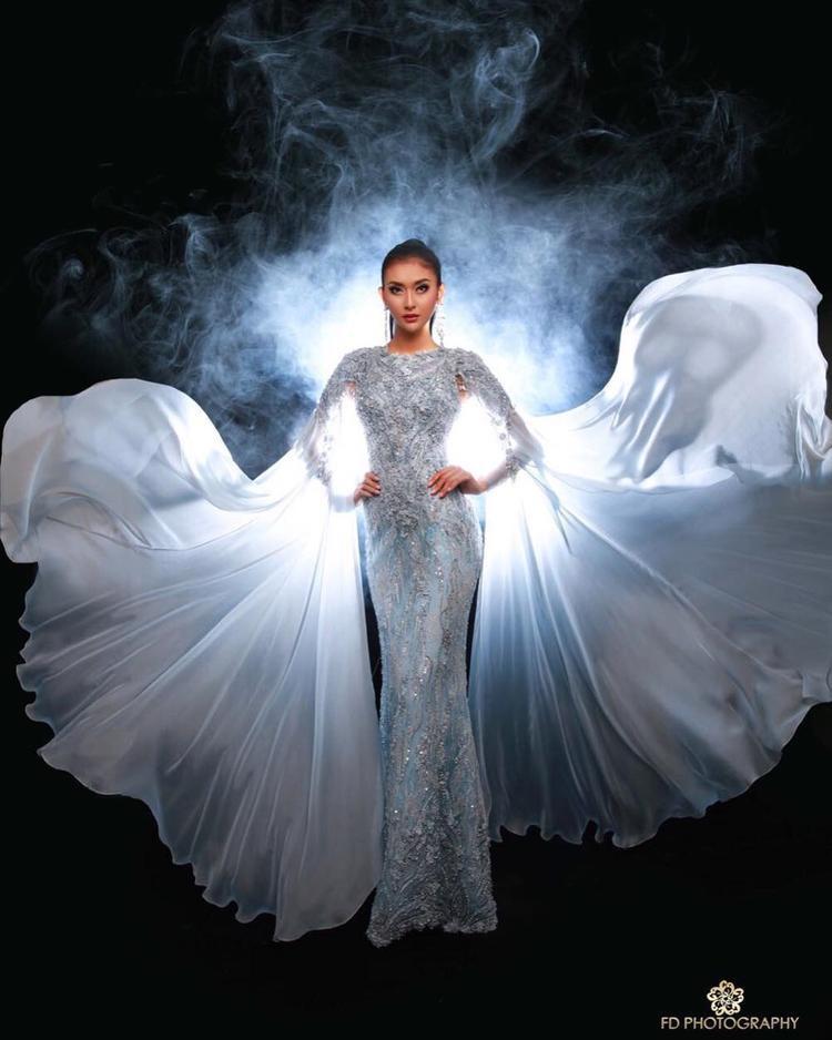 """Bộ váy lộng lẫy mà cô diện trong đêm thi chung kết, đây cũng là trang phục đoạt giải """"Trang phục dạ hội đẹp nhất"""" trong cuộc thi."""