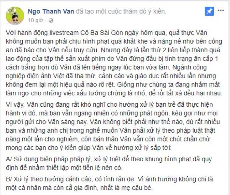 Ngô Thanh Vân sẽ đến Vũng Tàu gặp đối tượng livestream phim Cô Ba Sài Gòn và có quyết định cuối cùng về cách xử lý