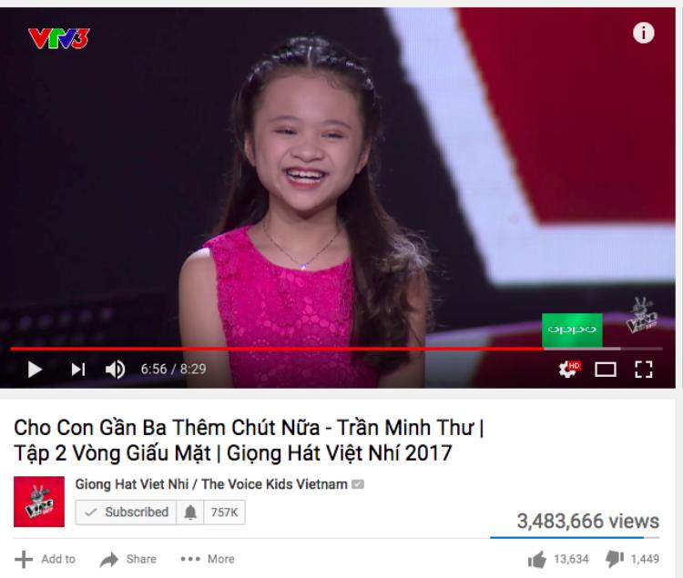 Gần 3,5 triệu lượt xem dành cho tiết mục Cho con gần ba thêm chút nữa.