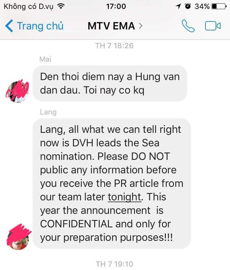 """Nội dung tin nhắn phía MTV Việt Nam liên tục thông báo """"ông hoàng nhạc Việt"""" dẫn đầu lượt bình chọn sau khi đóng cổng bình chọn."""