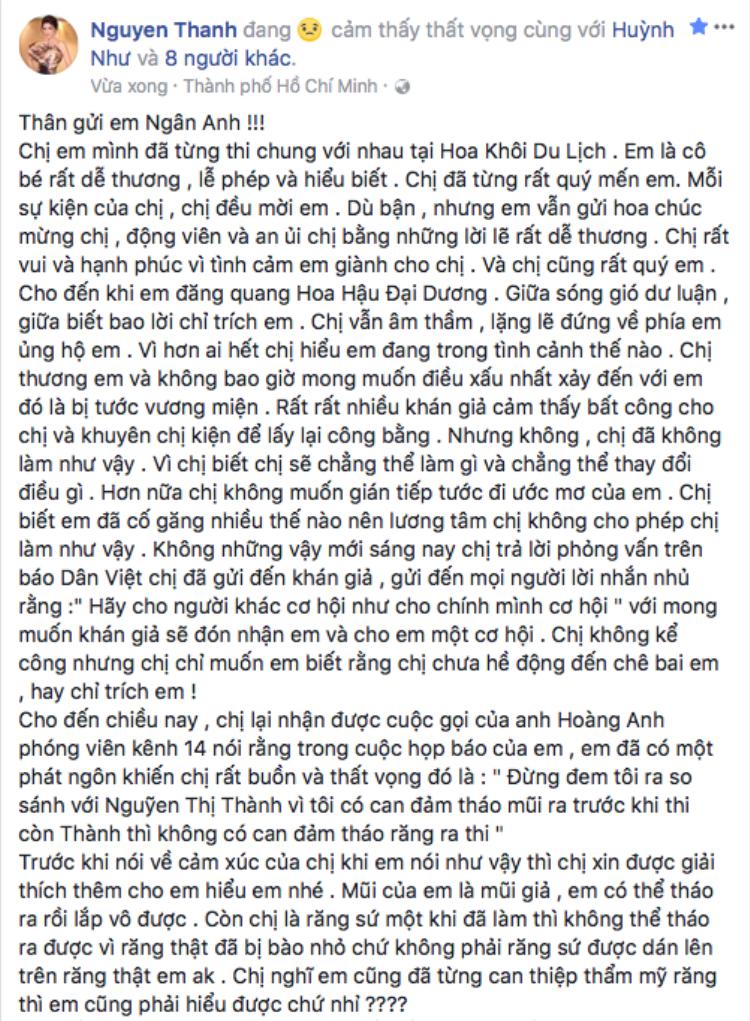 Chia sẻ của Nguyễn Thị Thành trước phát ngôn khá đụng chạm của Lê Âu Ngân Anh.