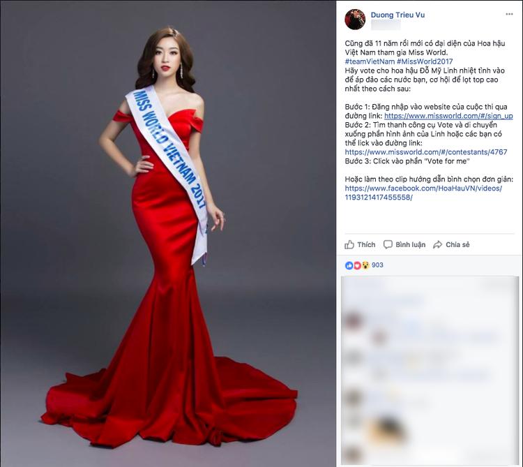 Dương Triệu Vũ kêu gọi mọi người ủng hộ Đỗ Mỹ Linhở Hoa hậu Thế giới năm nay. Anh rất vui vì cũng đã 11 năm mới có đại diện của Hoa hậu Việt Nam tham gia Miss World.