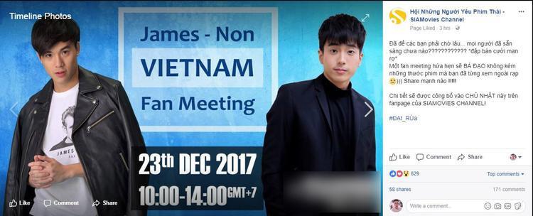 Thông tin về fan-meeting của Nonkul và James được fanpage Hội Những Người Yêu Phim Thái đăng tải.