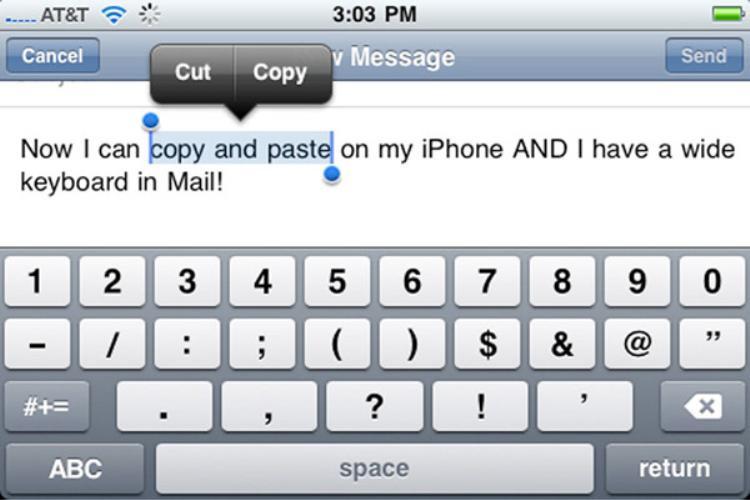 Apple cũng phải mất tới ba năm để iPhone có các tính năng như cắt (cut), dán (paste) hay sao chép (copy).