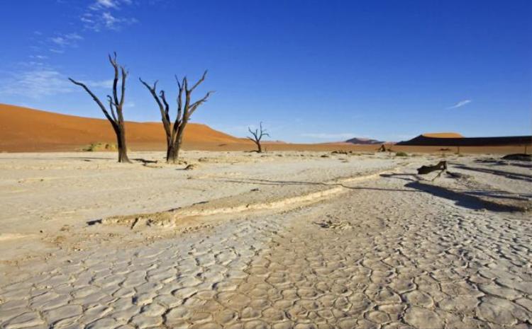17. Sa mạc Sossusvlei, Namibia: Vùng lòng chảo đất sét khô cằn này được bao quanh bởi những cồn cát đỏ khổng lồ, nằm về phía nam sa mạc Namib.