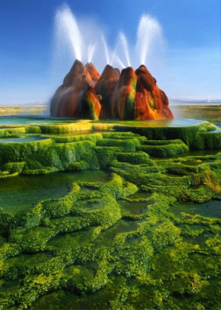 8. Mạch nước phun Fly Geyser, Nevada: Mạch nước này được cho là đã hình thành sau một sự cố khoan giếng vào khoảng giữa thập niên 60, gây ra sự tích tụ và phun trào của mạch nước ngầm. Màu sắc đẹp lạ của khung cảnh xung quanh là từ tảo nhiệt - một loại tảo phát triển rất tốt ở nhiệt độ cao.