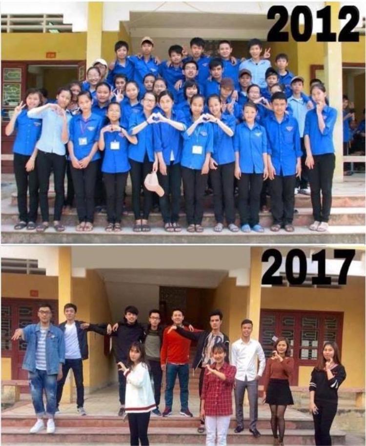 Sau 5 năm, một số người đã vắng mặt. Nhưng những thành viên còn lại vẫn cố gắng gặp gỡ và cùng chụp lại bức ảnh ở ngay chỗ họp lớp ngày xưa