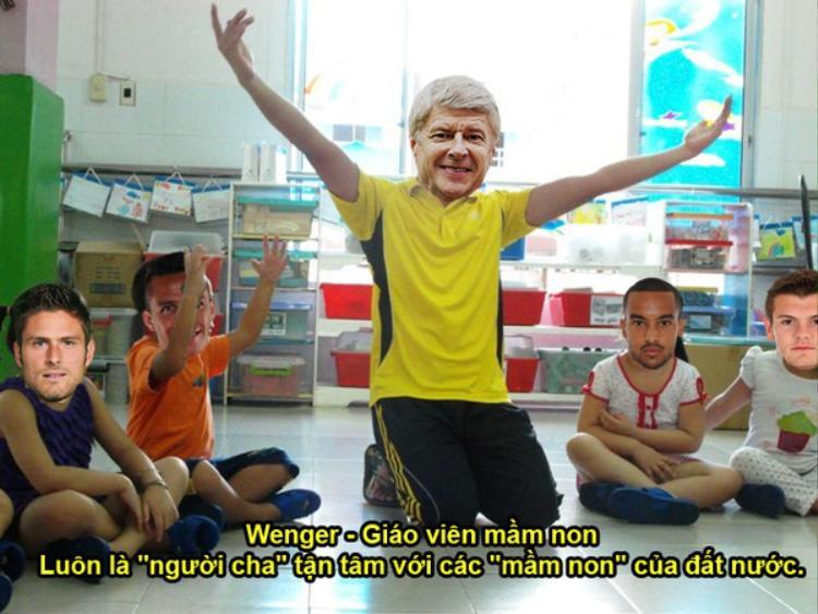 """Arsenal thời gian qua luôn được gắn với biệt danh """"đội bóng của những đứa trẻ"""". Chính vì vậy, """"giáo sư"""" sẽ thích hợp cho vị trí giáo viên mầm non. Dù 13 năm trắng tay, thầy Wenger vẫn được """"ban giám hiệu"""" tin tưởng để tiếp tục công việc dẫn dắt Pháo thủ của mình."""