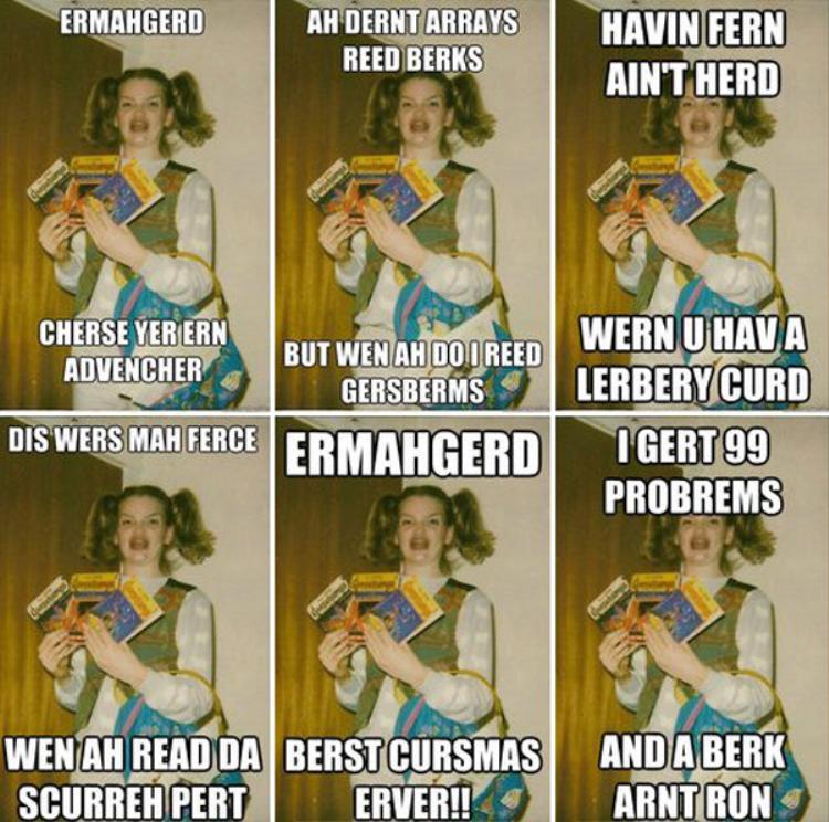 """Ermahgerd là một meme nổi lên từ Reddit khi được đăng lên vào tháng 3 năm 2012 với chú thích """"Chỉ là nụ cười của một người đã có quyển sách…"""""""