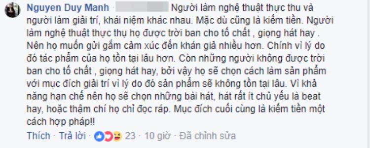 Thêm 1 bình luận từ nam ca/nhạc sĩ bày tỏ về vấn đề này.