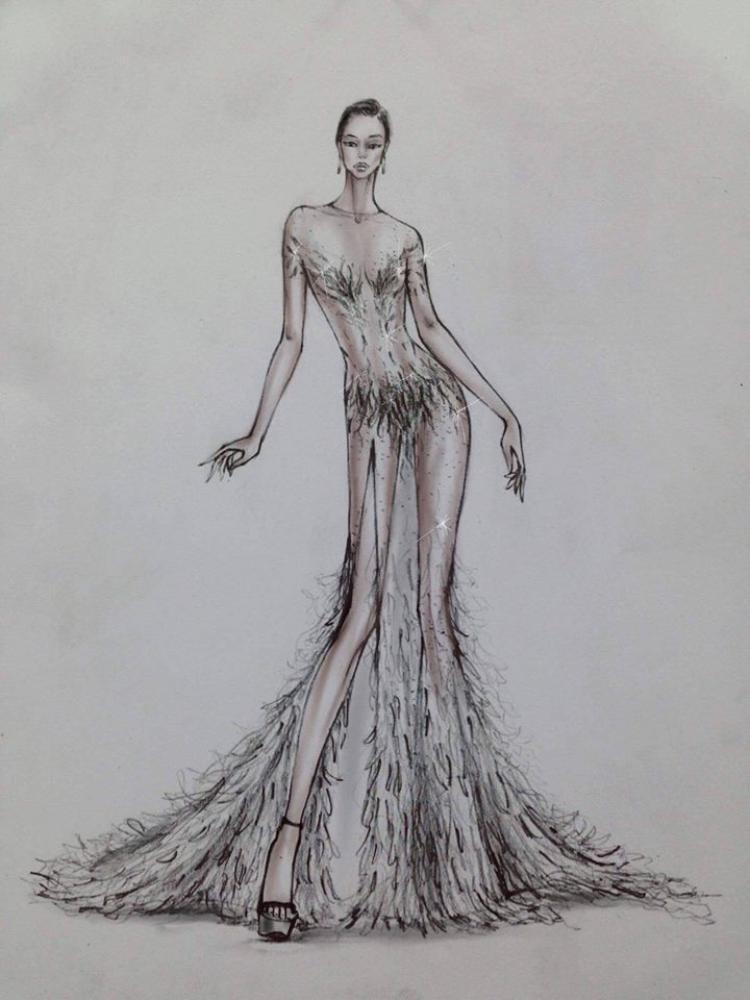 Bản phác thảo của mẫu váy.