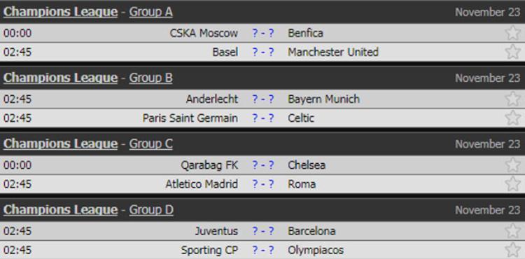 Lịch thi đấu Champions League rạng sáng mai theo giờ Việt Nam.