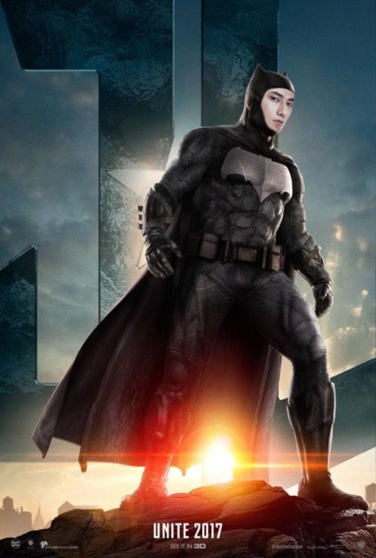 Isaac trong vai Batman. Là trưởng nhóm của nhóm 365 trước đây, hẳn nam thần có nhiều kinh nghiệm trong việc quản lý Liên minh Công lý.