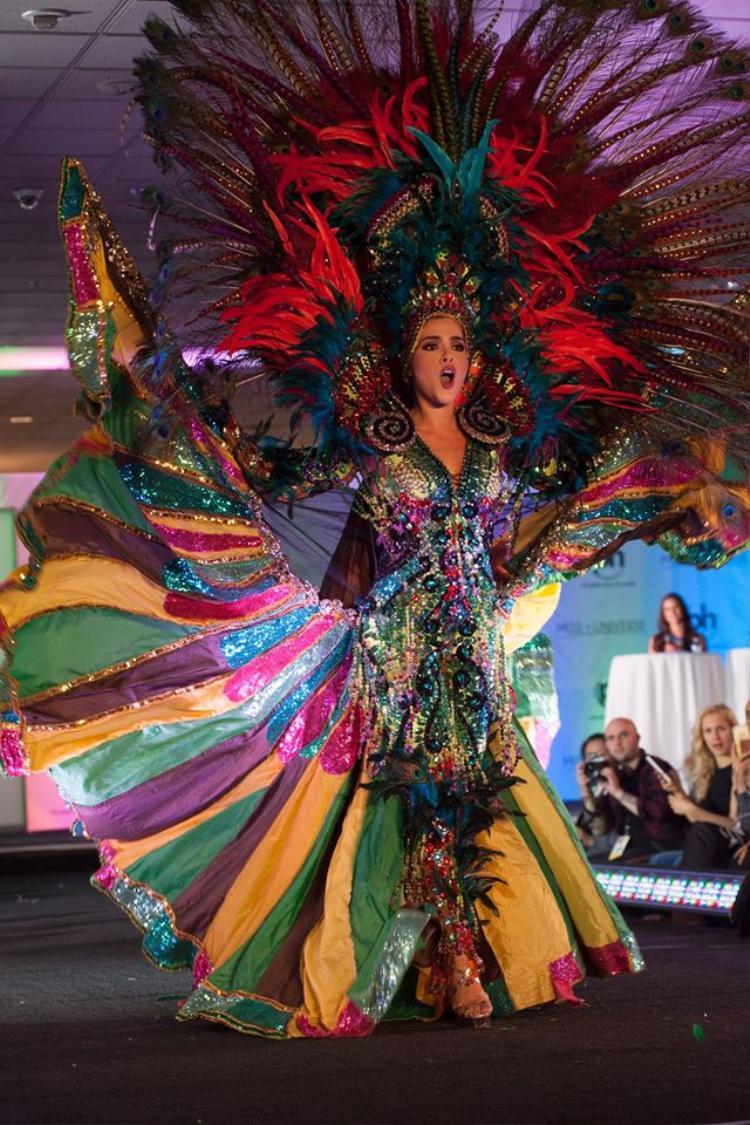 Daniela Cepeda đến từ Ecuador diện trang phục truyền thống cầu kỳ kết hợp màn trình diễn ấn tượng.