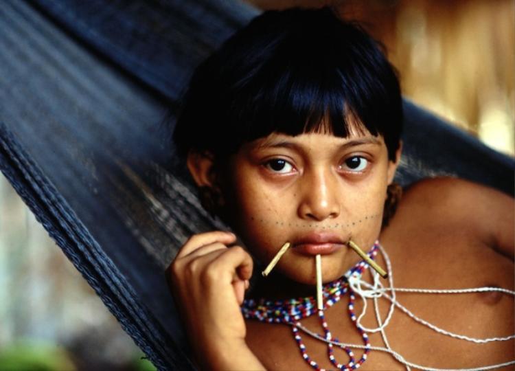 Xỏ những chiếc que nhỏ xung quanh miệng là tập tục chứng minh sự trưởng thành của phụ nữ bộ lạc Yanomami.