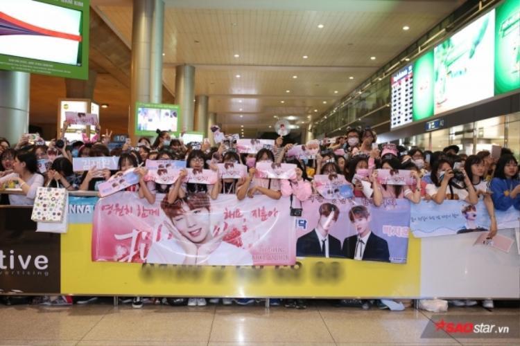Fan đội nón lá, phủ kín sân bay Tân Sơn Nhất chờ đón Wanna One