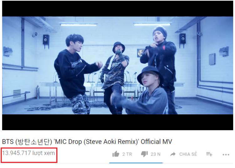 MV Mic Drop đạt 13,95 triệu lượt xem sau 24h phát hành.
