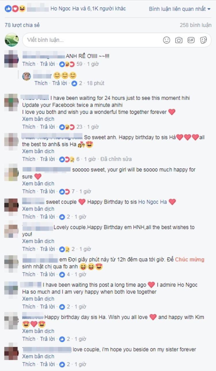 Nhiều cư dân mạng bày tỏ sự ngưỡng mộ bởi độ ngọt ngào, tình cảm của cặp đôi Hà Hồ - Kim Lý. Trong khi đó, ca/nhạc sĩ Châu Đăng Khoa còn gọi Kim Lý là… anh rể.