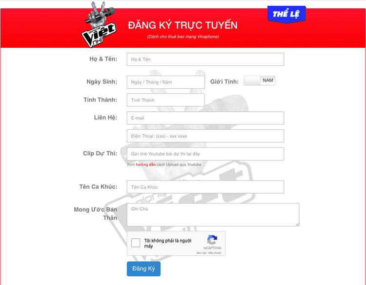 Mẫu đơn đăng ký dự thi Giọng hát Việt nhí Online 2018.