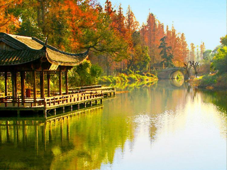 Vào mùa thu, Hồ Tây đẹp như tranh vẽ, có màu xanh ngọc của nước hồ, chấm phớt đỏ của lá thu.